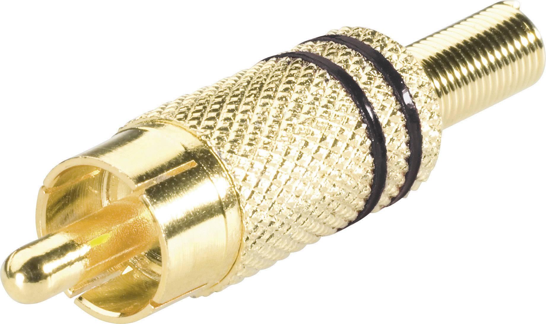 Cinch konektor zástrčka, rovná BKL Electronic 0101002/R, pinov 2, čierna, 1 ks