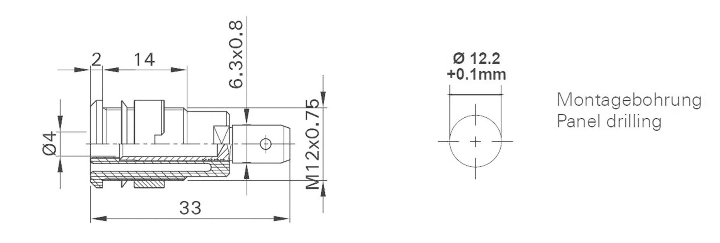 Bezpečnostná laboratórna zásuvka Stäubli SLB 4-F6,3 – zásuvka, vstavateľná vertikálna, Ø hrotu: 4 mm, červená, 1 ks