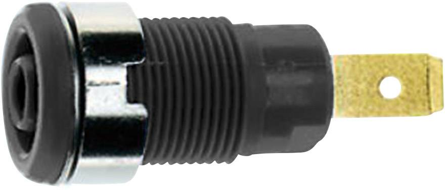 Bezpečnostná laboratórna zásuvka Stäubli SLB 4-F6,3 – zásuvka, vstavateľná vertikálna, Ø hrotu: 4 mm, čierna, 1 ks