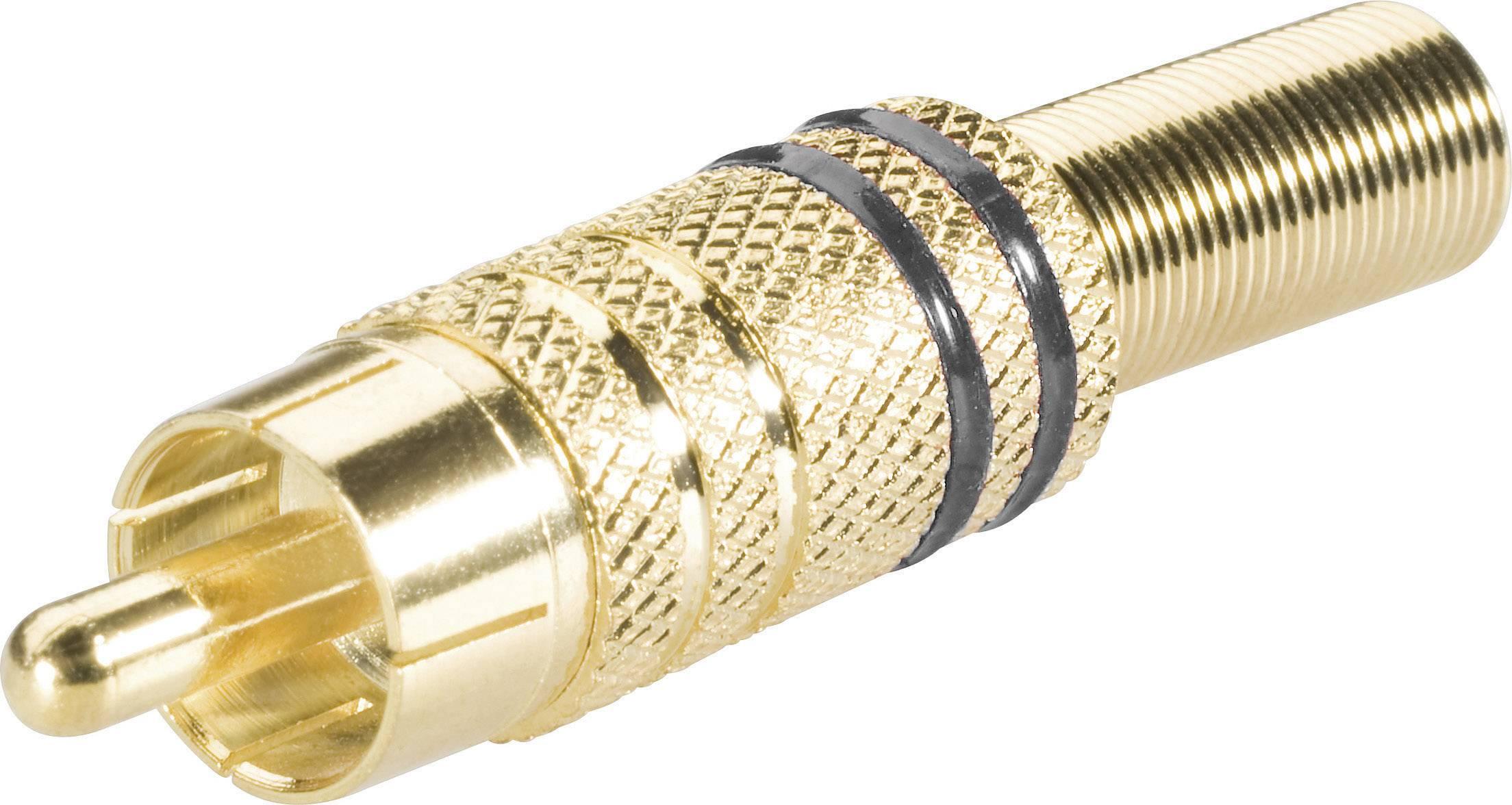 Cinch konektor zástrčka, rovná BKL Electronic 0101006, pinov 2, čierna, 1 ks