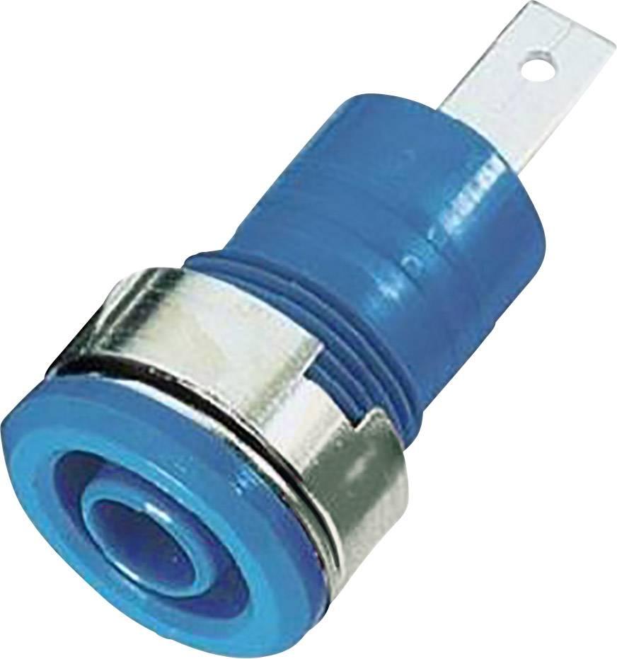 Bezpečnostná laboratórna zásuvka Stäubli SLB 4-F/A – zásuvka, vstavateľná vertikálna, Ø hrotu: 4 mm, modrá, 1 ks