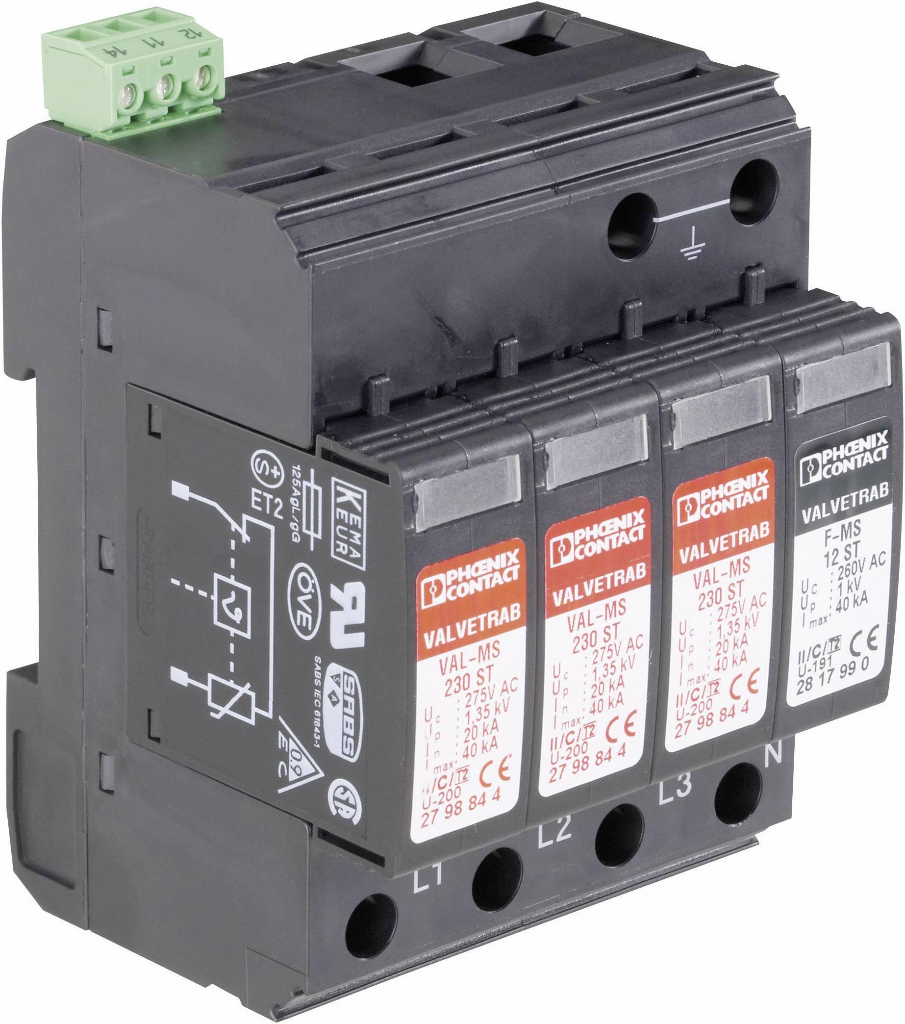 Zvodič pre prepäťovú ochranu Phoenix Contact VAL-MS 230/3+1 FM 2838199, 20 kA