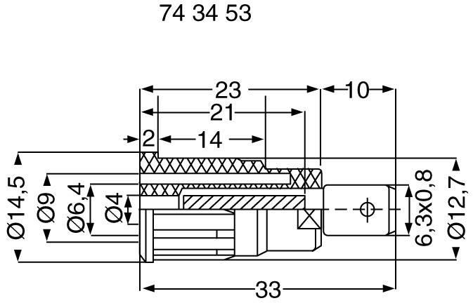 Bezpečnostná laboratórna zásuvka Stäubli SEB4-F6,3 – zásuvka, vstavateľná vertikálna, Ø hrotu: 4 mm, zelenožltá, 1 ks