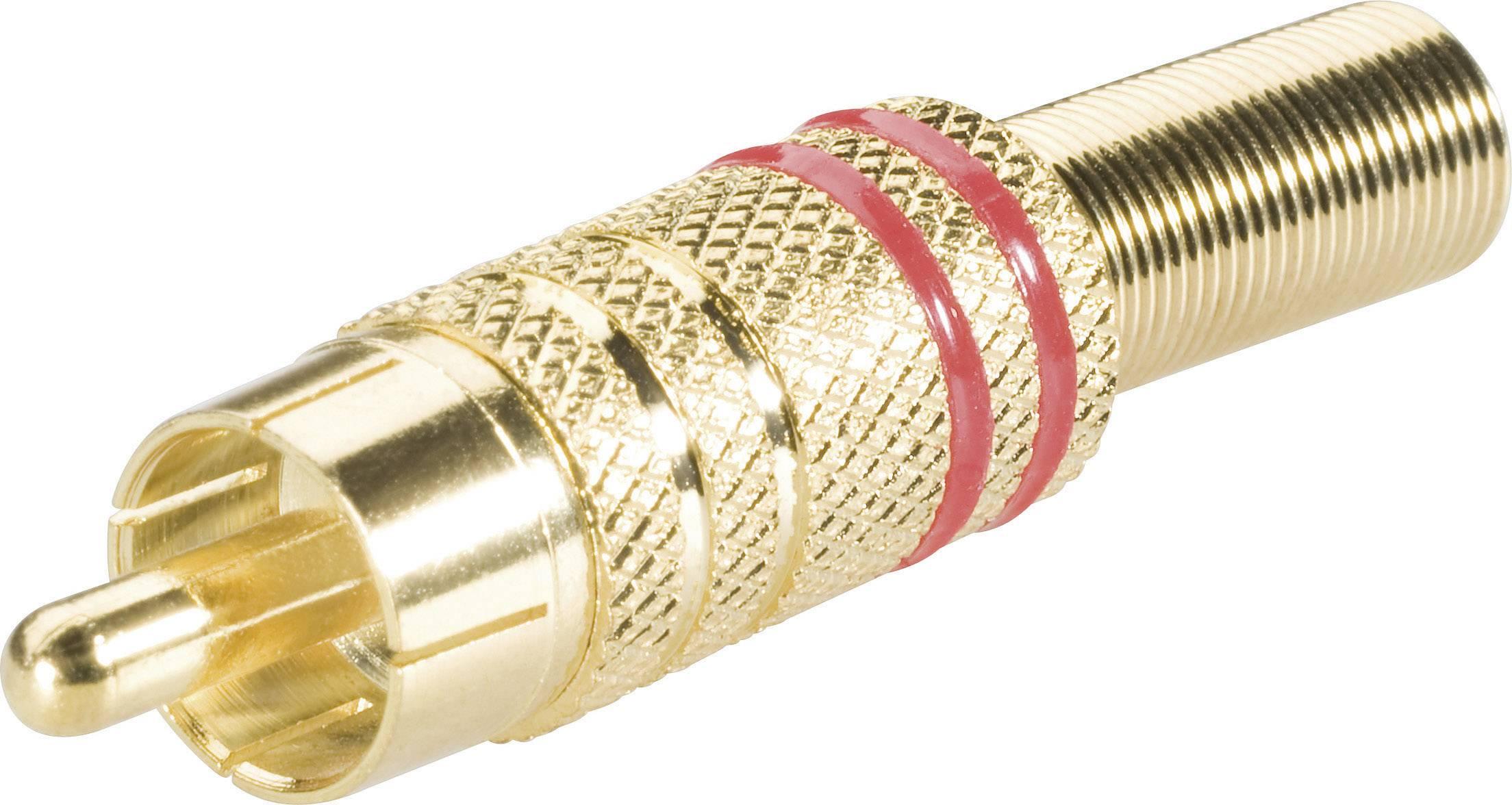 Cinch konektor zástrčka, rovná BKL Electronic 0101007, pinov 2, červená, 1 ks
