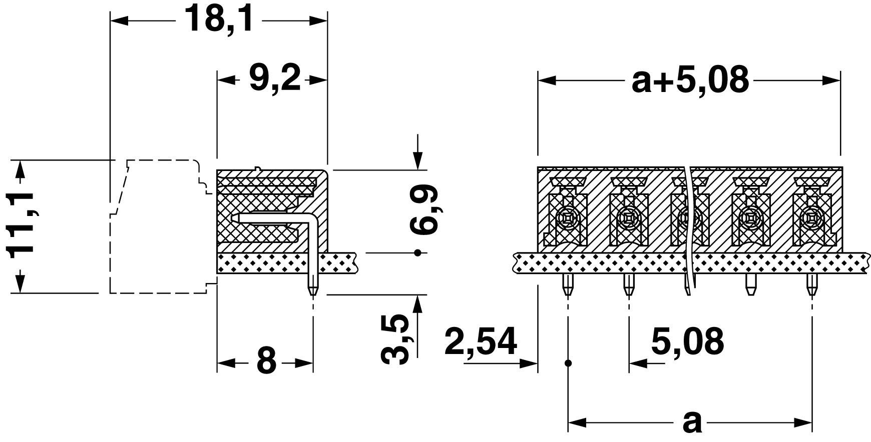 Svorkovnice 1řadá do DPS Phoenix Contact MC 1,5/ 9-G-5,08 (1836257), 9pól., zelená