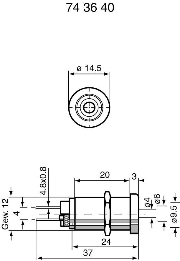 Bezpečnostná laboratórna zásuvka Stäubli XEB-1R – zásuvka, vstavateľná vertikálna, Ø hrotu: 4 mm, červená, 1 ks