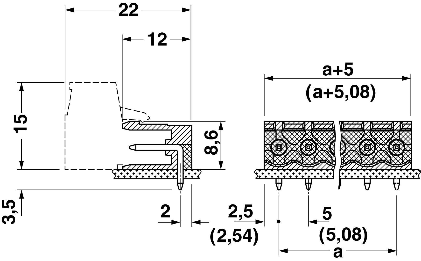 Svorkovnice 1řadá do DPS Phoenix Contact MSTB 2,5/ 9-G (1754575), 9pól., zelená
