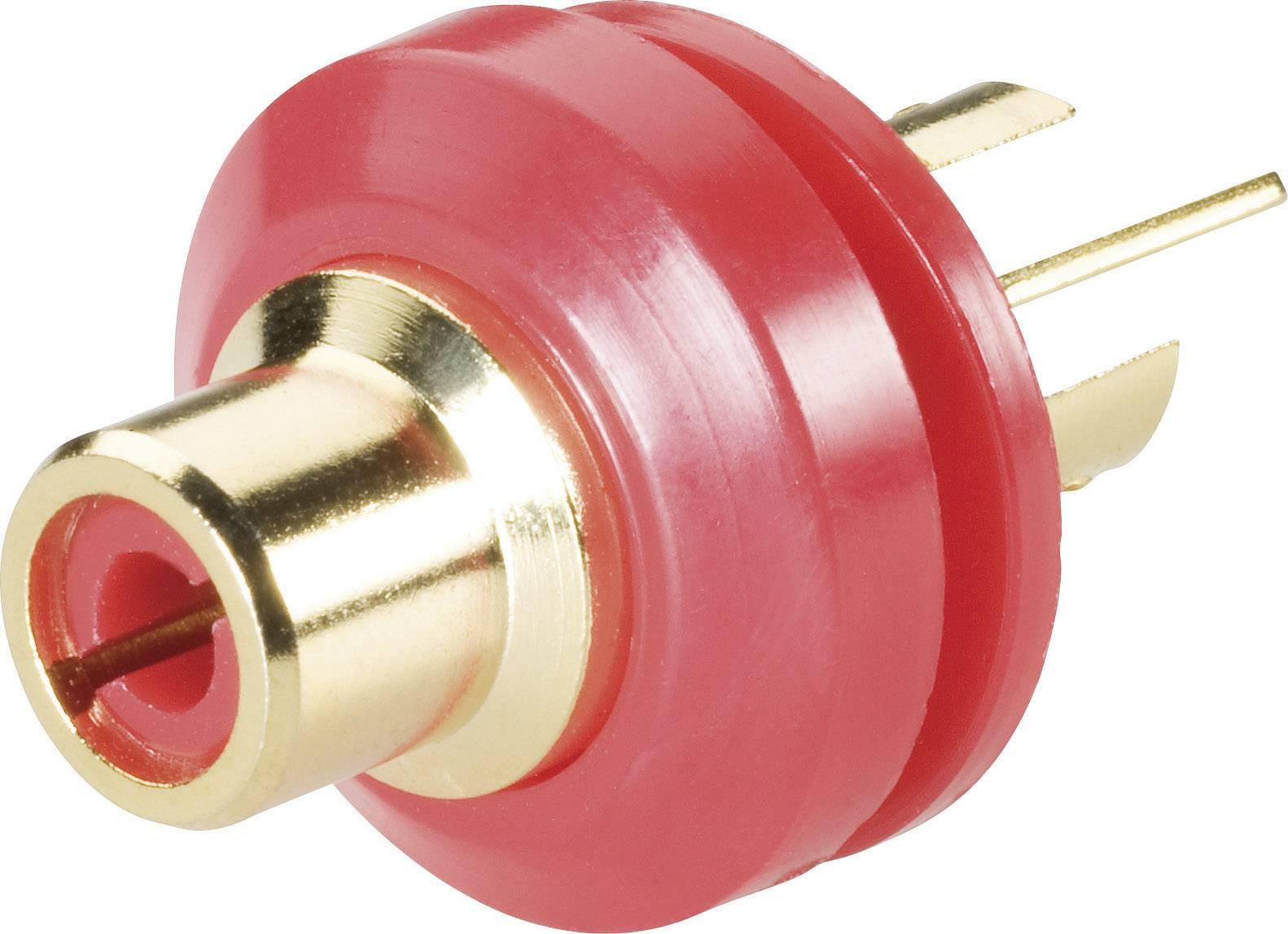 Cinch konektor zásuvka, vstavateľná vertikálna BKL Electronic 0101148/T, pinov 2, červená, 1 ks