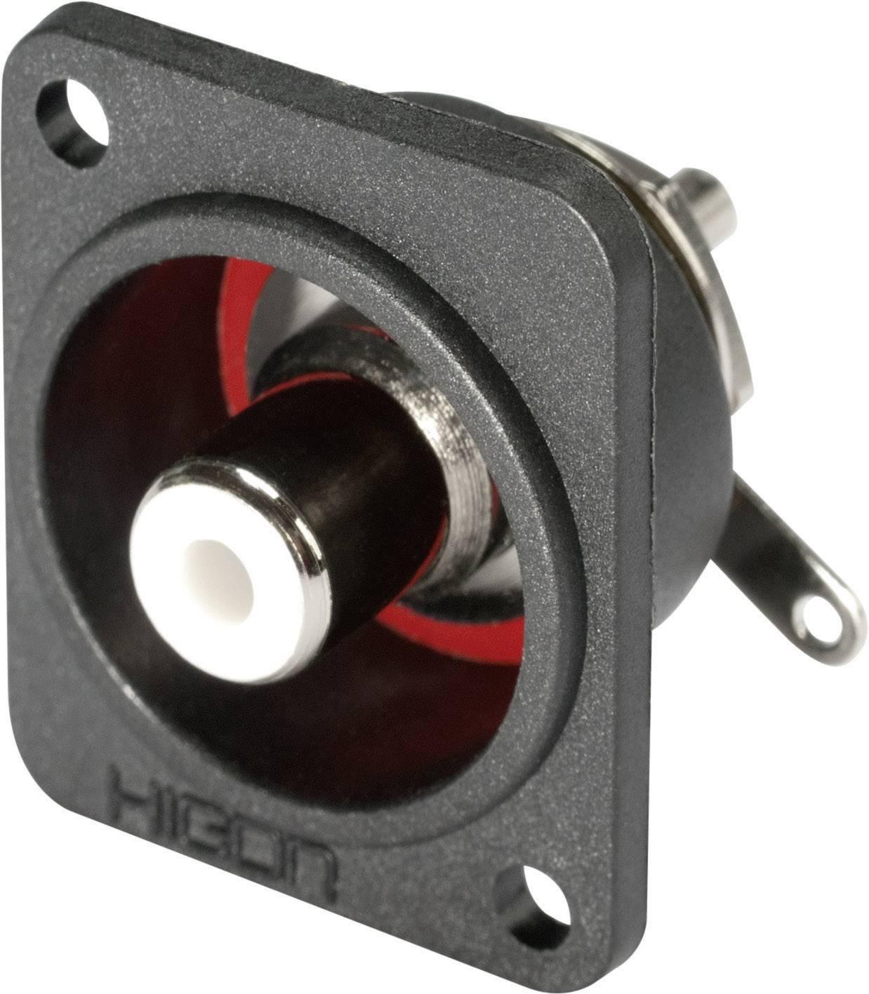 Cinch konektor prírubová zásuvka, rovná Hicon HI-CEFD-RED, pinov 2, červená, 1 ks