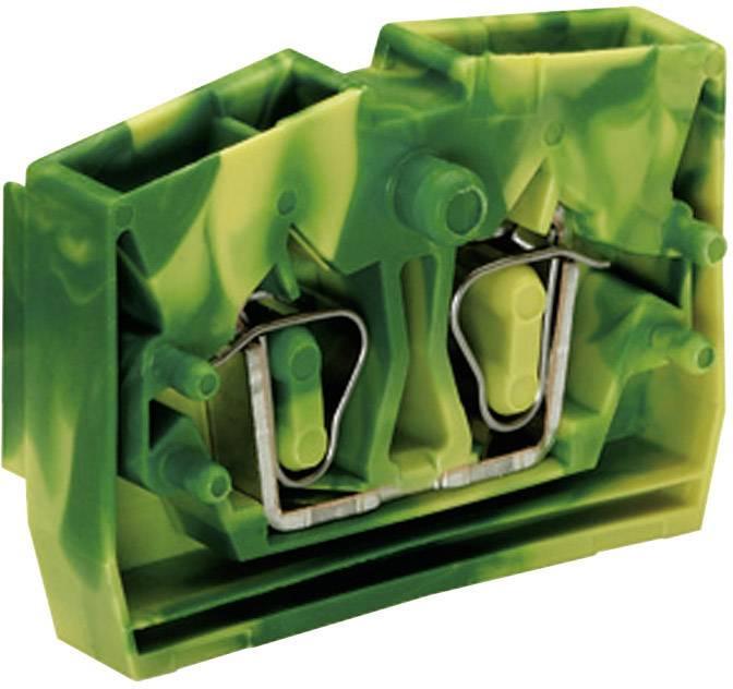 Svorka koncová 2vodičová Wago 264-307, s přip. přírubou, pružinová, 6 mm, zelenožlutá