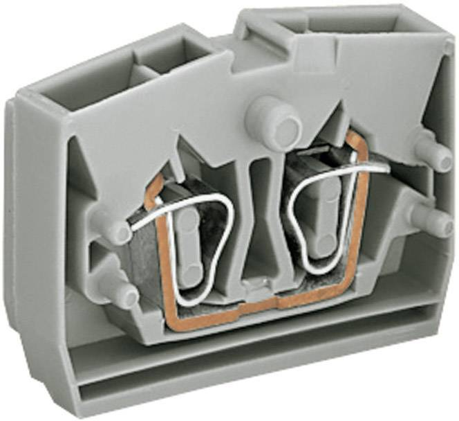 Svorka středová 2vodičová Wago 264-321, s přip. přírubou, pružinová, 6 mm, šedá