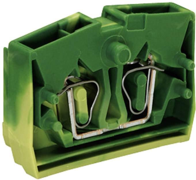 Svorka středová 2vodičová Wago 264-327, s přip. přírubou, pružinová, 6 mm, zelenožlutá
