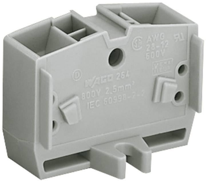 Svorka koncová 4vodičová Wago 264-331, s přip. přírubou, pružinová, 10 mm, šedá
