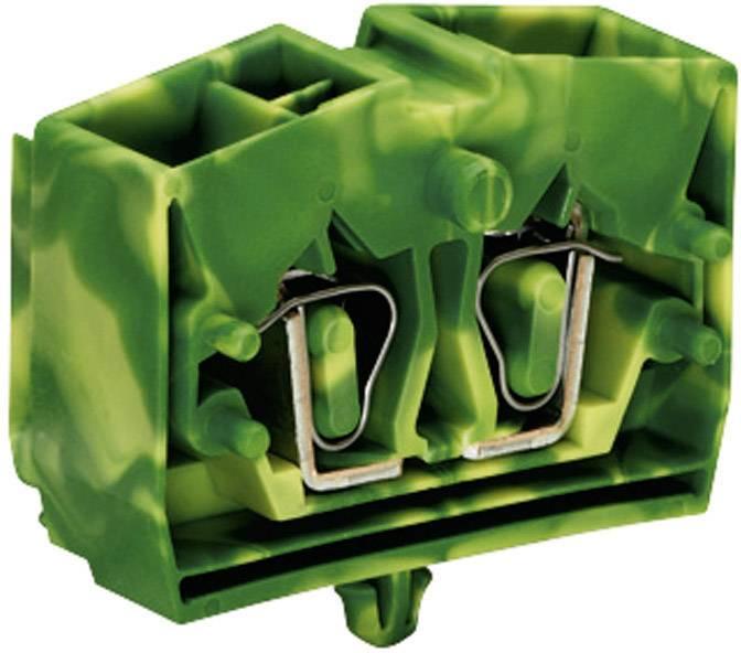 Svorka 4vodičová Wago 264-347, se zajišťovací vložkou, pružinová, 10 mm, zelenožlutá