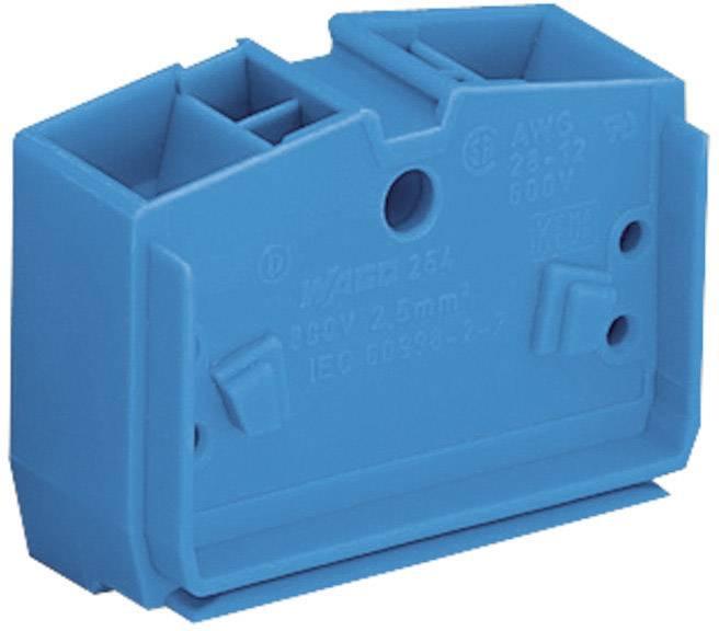 Svorka středová 4vodičová Wago 264-354, s přip. přírubou, pružinová, 10 mm, modrá