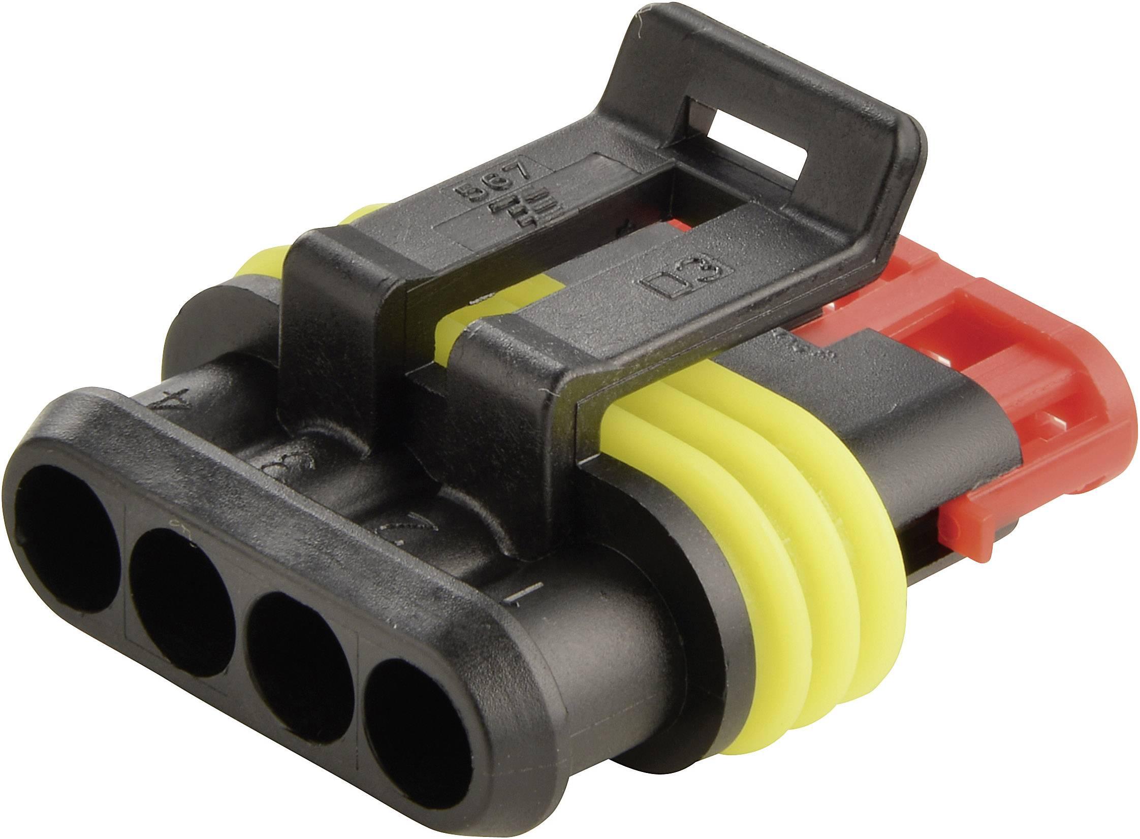 Zásuvkové púzdro na kábel TE Connectivity 282088-1, počet pólov 4, raster 6 mm, 1 ks