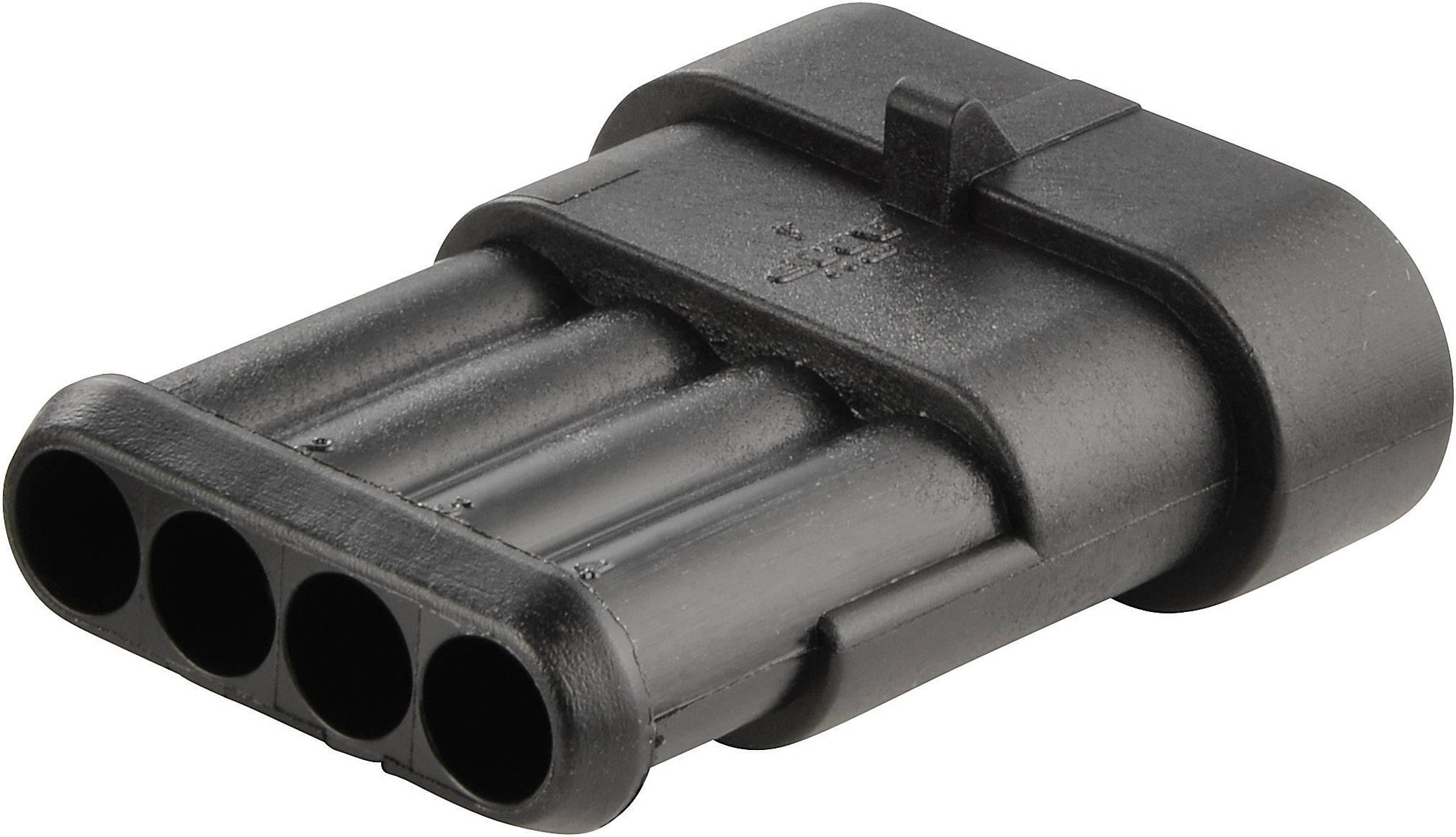 Zásuvkové púzdro na kábel TE Connectivity 282106-1, počet pólov 4, raster 6 mm, 1 ks