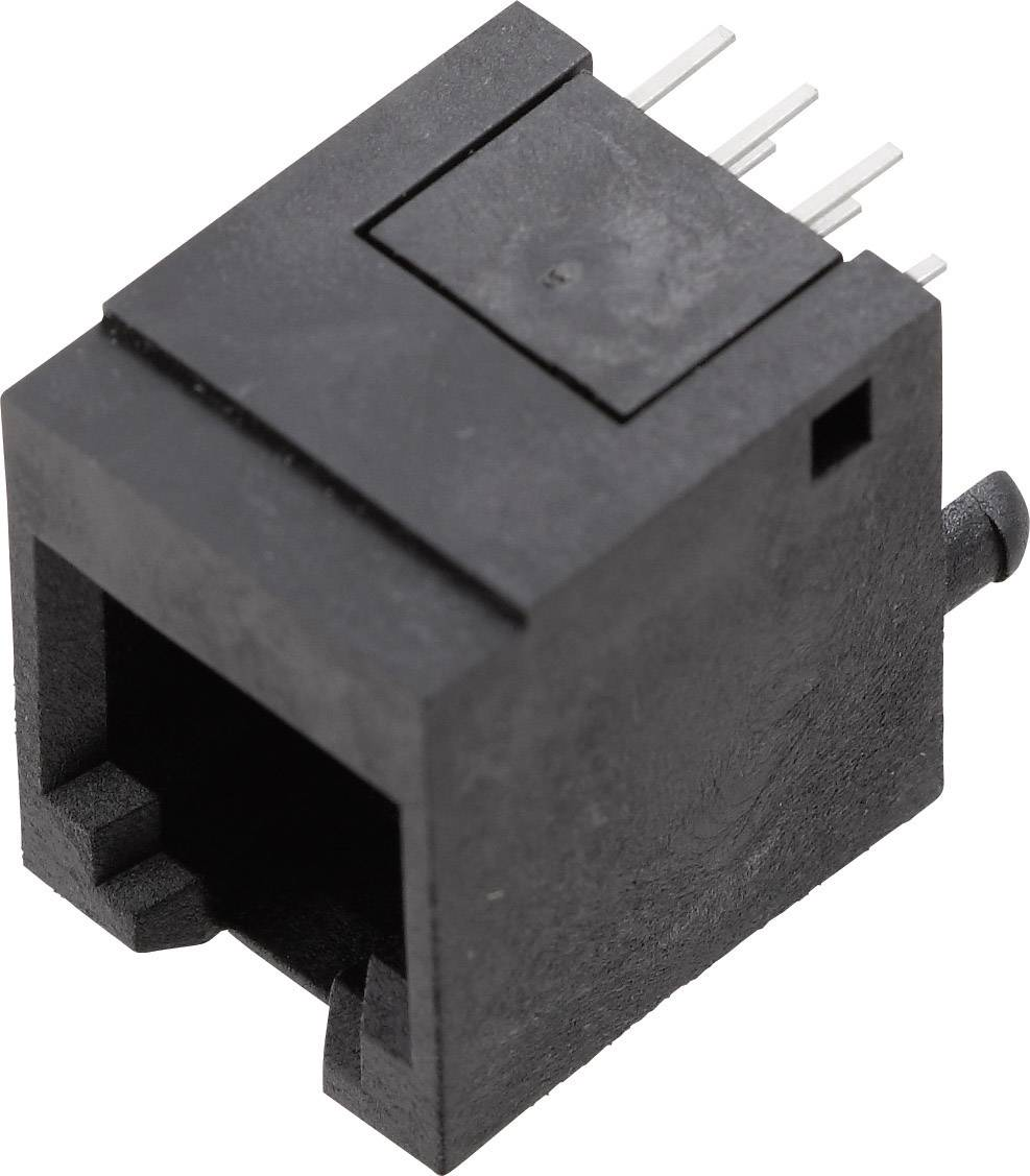 RJ12 zásuvka, rovná BEL Stewart Connectors 1410-4000-07, čierna, 1 ks