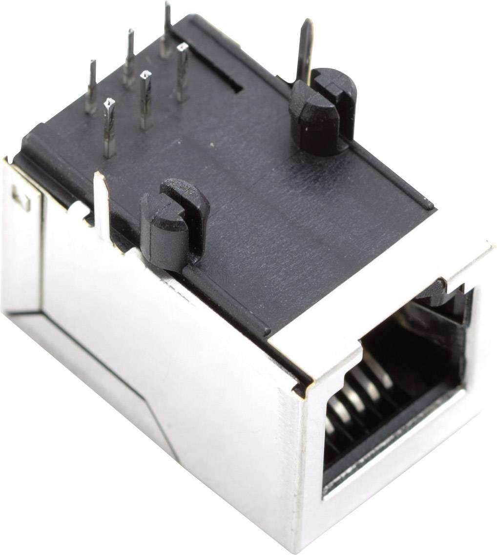 RJ45 zásuvka, vstavateľná horizontálna BEL Stewart Connectors SS64600-025F, poniklovaný, kov, 1 ks