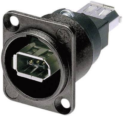 Konektor FireWire Neutrik NA1394-6-W-B (NA1394-6-B-W), zásuvka vestavná, černá