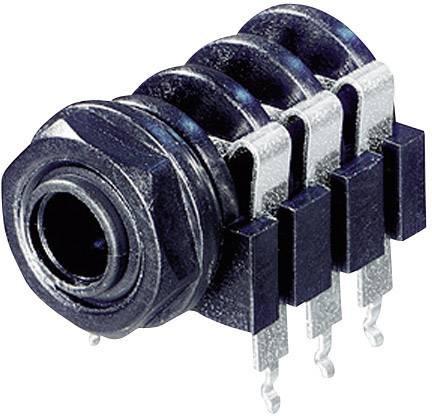 Jack konektor 6,35 mm stereo Rean AV NYS 219, zásuvka vestavná horiontální, 3pól., černá