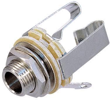 Jack konektor 6.35 mm stereo zásuvka, vstavateľná vertikálna Rean AV NYS 230, pinov 3, strieborná, 1 ks