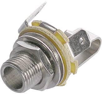 Jack konektor 6.35 mm čiernobiela zásuvka, vstavateľná vertikálna Rean AV NYS 229, počet pinov: 2, strieborná, 1 ks