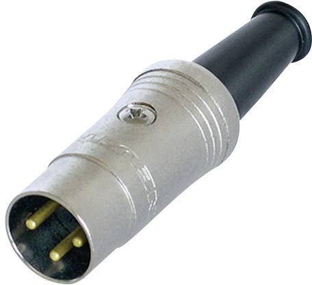 DIN kruhový konektor zástrčka, rovná Rean NYS321G, počet pinov: 3, čierna, 1 ks