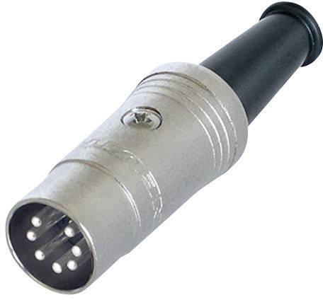 DIN kruhový konektor zástrčka, rovná Rean NYS323, počet pinov: 7, čierna, 1 ks