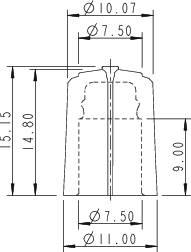 Otočný gombík Rean F 311 S 092, (Ø x v) 11 mm x 15.15 mm, čierna/červená, 1 ks