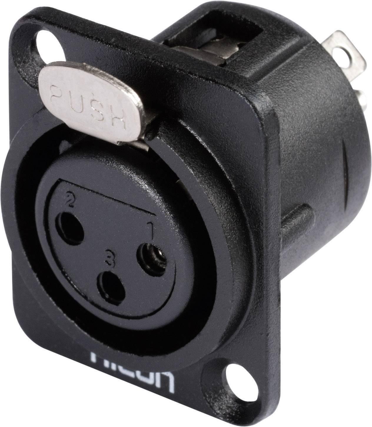 XLR zásuvka HICON HI-X3DF-M, prírubová rovná, 3-pól., čierna