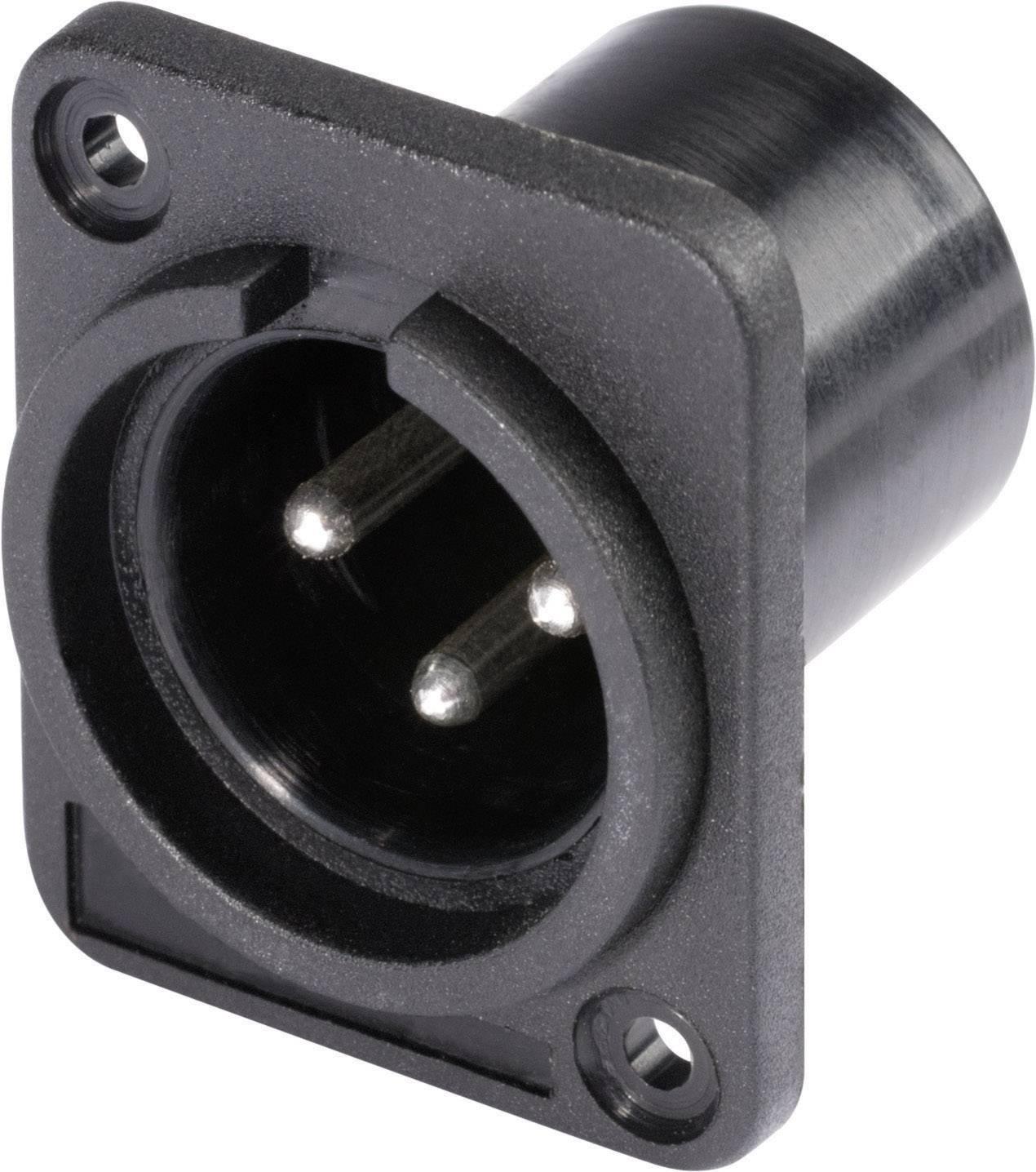XLR zástrčka HICON HI-X3DM-P, prírubová rovná, 3-pól., čierna