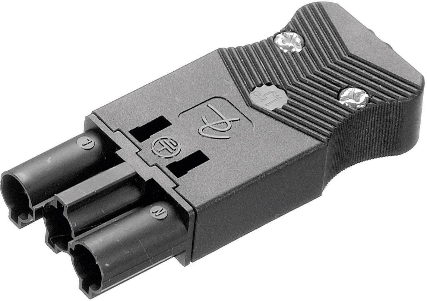 Sieťový konektor Adels-Contact AC 166 GSTPF/ 3, zástrčka, rovná, počet kontaktov: 2 + PE, 16 A, 250 V, čierna, 1 ks