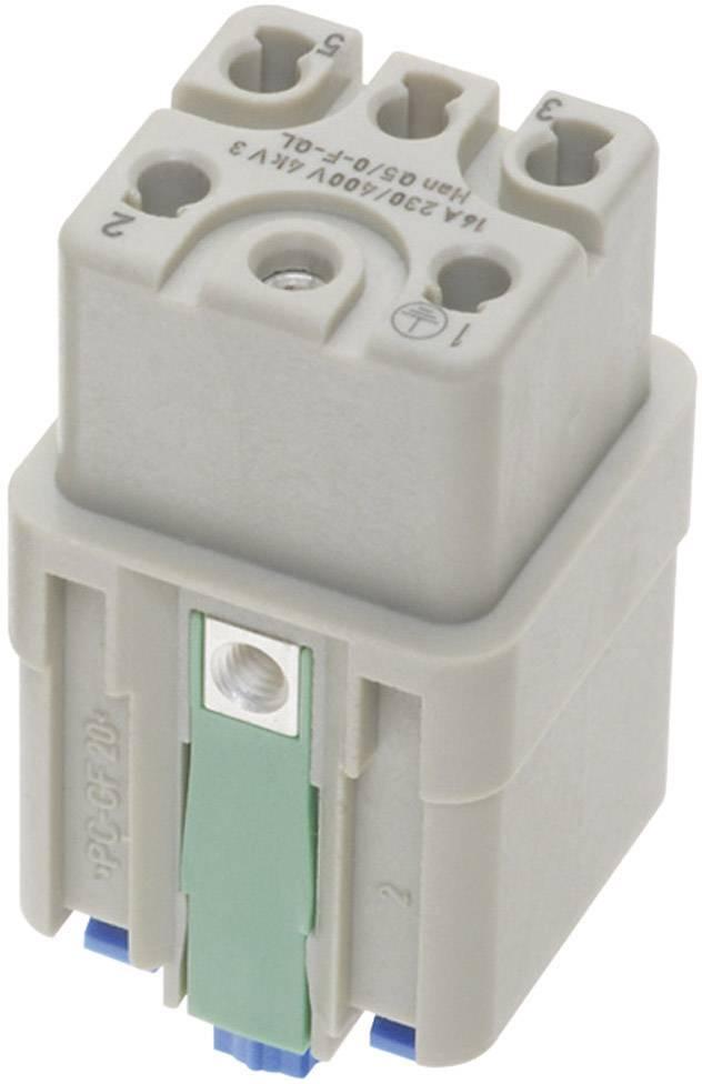 Konektorová vložka, zásuvka Harting Han® Q 09 12 005 2733, 5 + PE, Han-Quick Lock® připojení, 1 ks