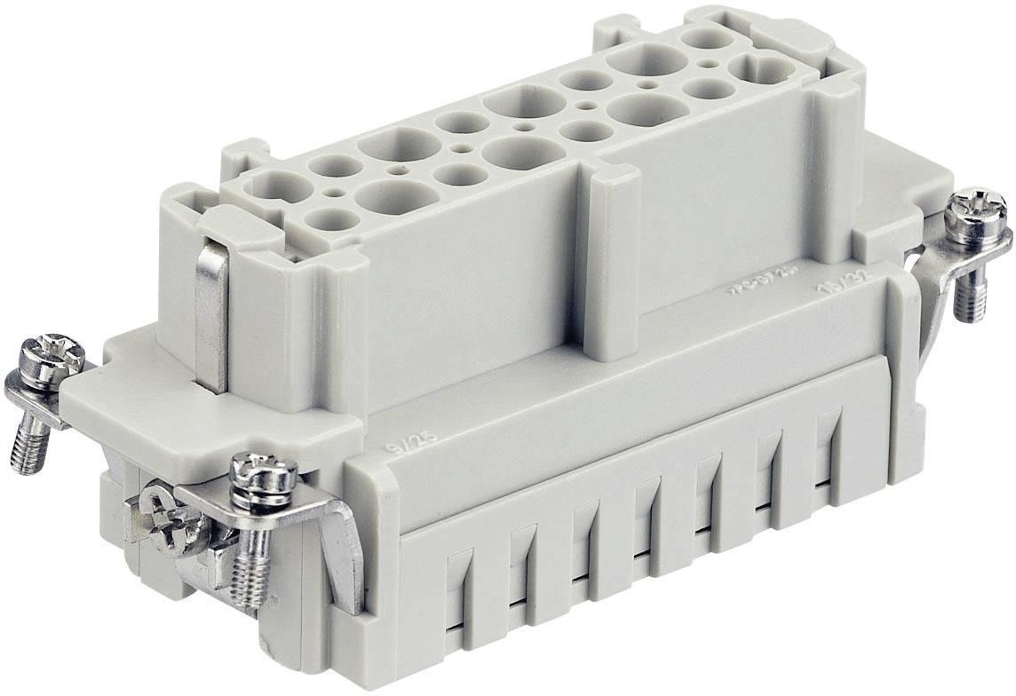 Konektorová vložka, zásuvka Harting Han® E 09 33 016 2712, 16 + PE, krimpované připojení, 1 ks
