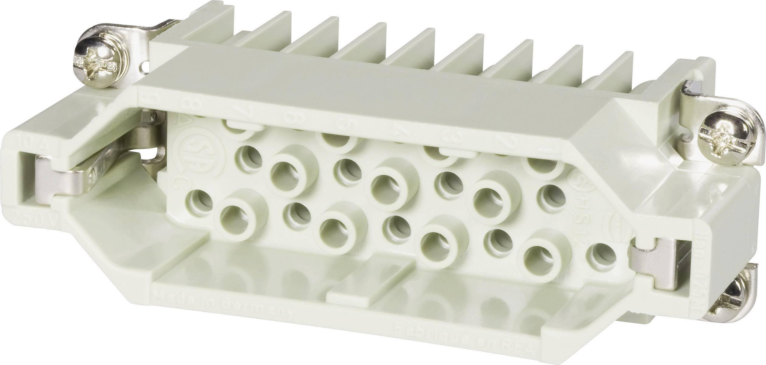 Vložka pinového konektoru Harting Han® D 09 21 025 3001, 25 + PE, krimpované připojení, 1 ks