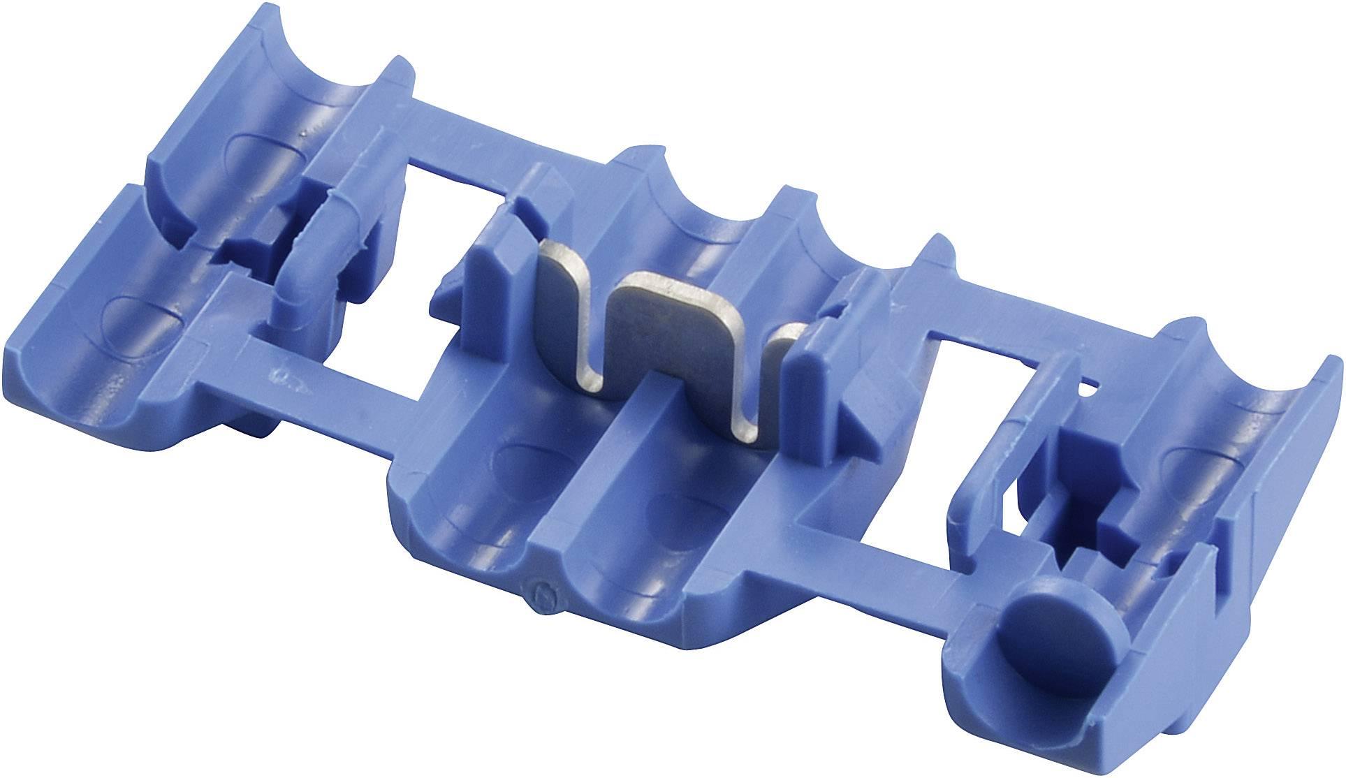 Nízkonapěťový konektor TE Connectivity 735398 na kábel s rozmerom 1-2.5 mm², tuhosť 1-2.5 mm², počet pinov 2, 1 ks, modrá