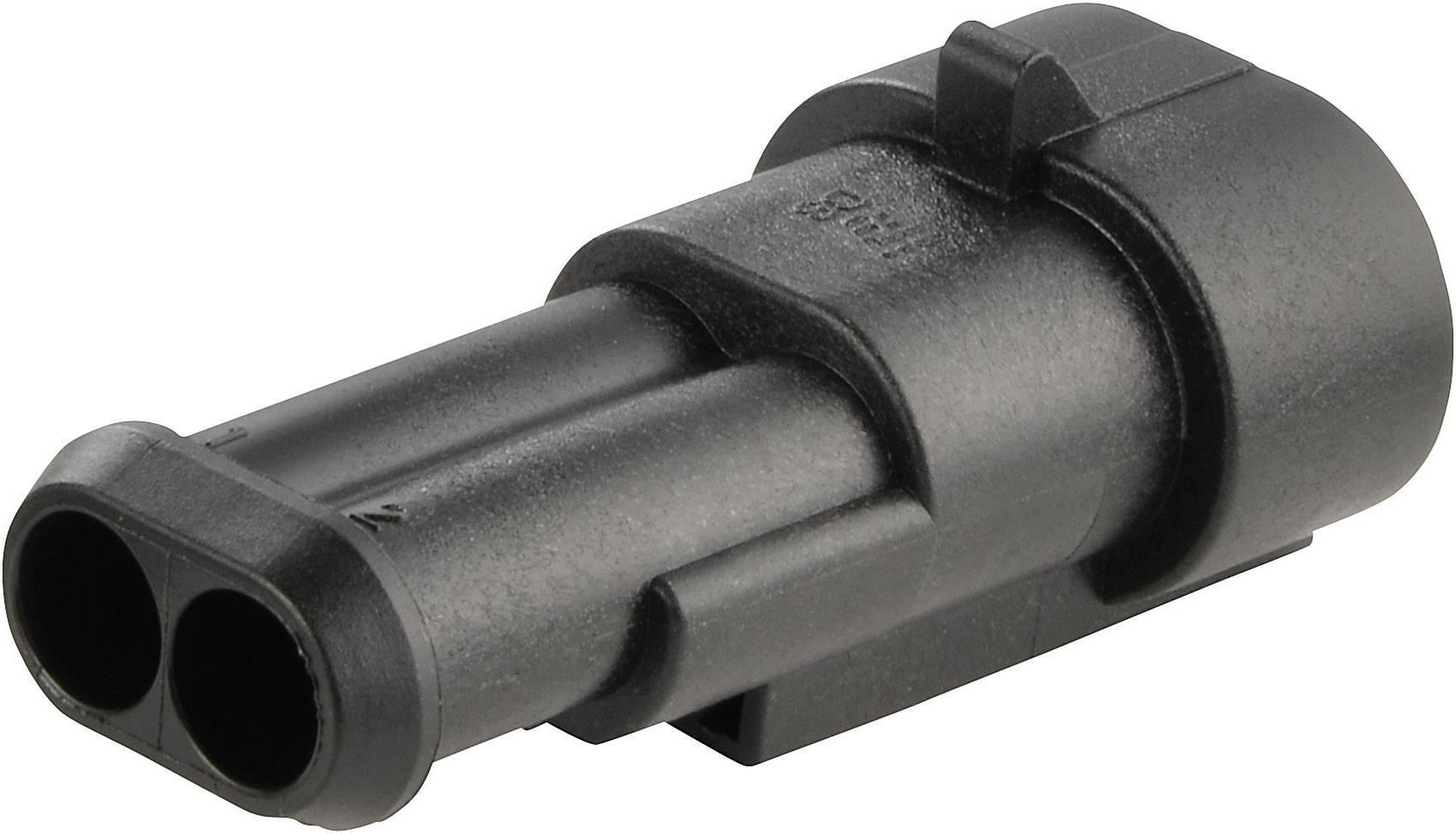 Zásuvkové púzdro na kábel TE Connectivity 282104-1, počet pólov 2, raster 6 mm, 1 ks