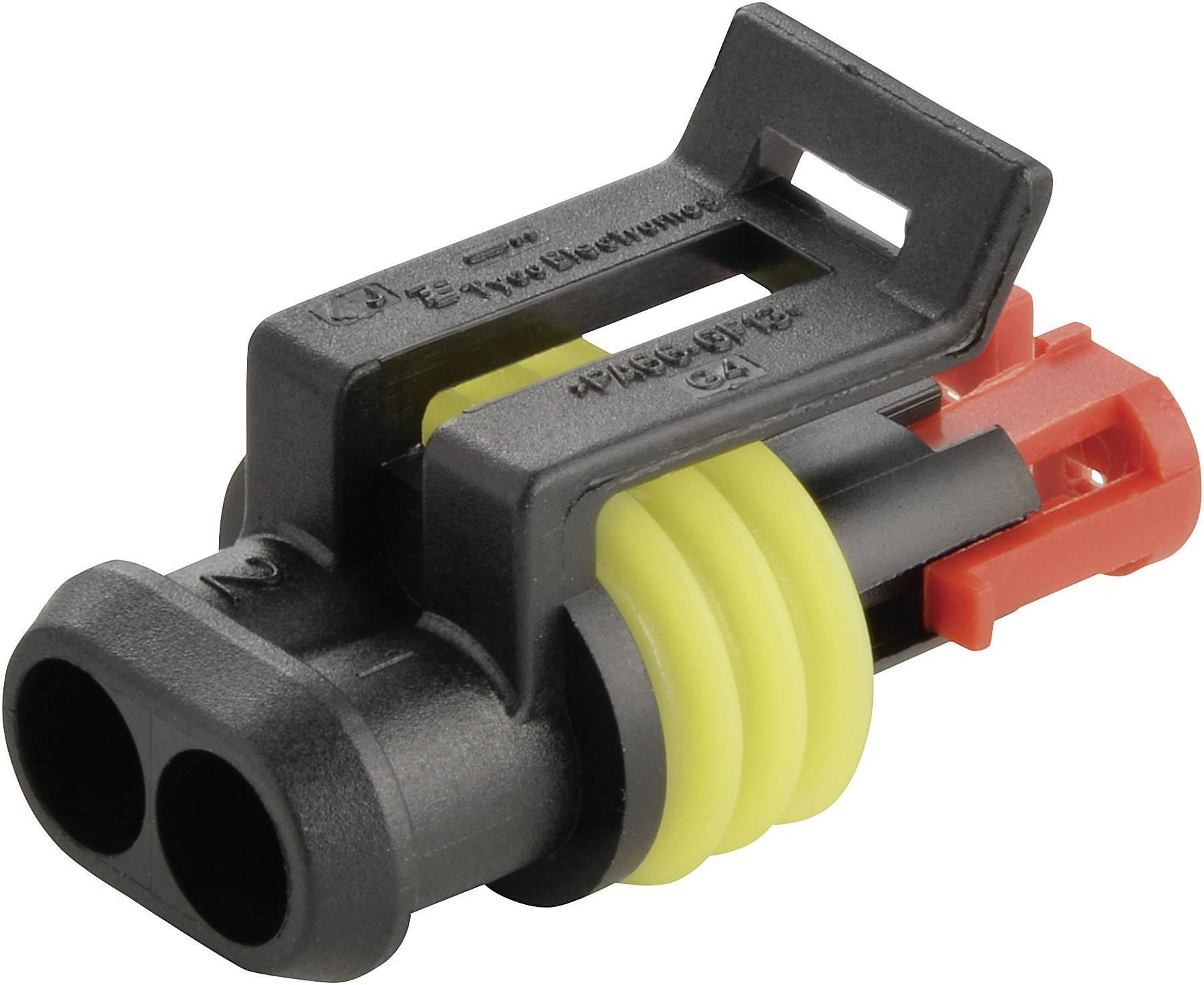 Zásuvkové púzdro na kábel TE Connectivity 282080-1, počet pólov 2, raster 6 mm, 1 ks