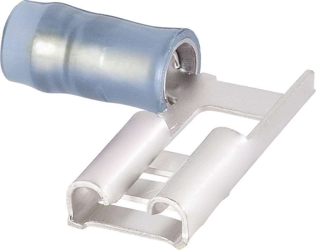 Faston konektor zásuvka TE Connectivity 156666-1 6.3 mm x 0.8 mm, 90 °, čiastočne izolované, modrá, 1 ks
