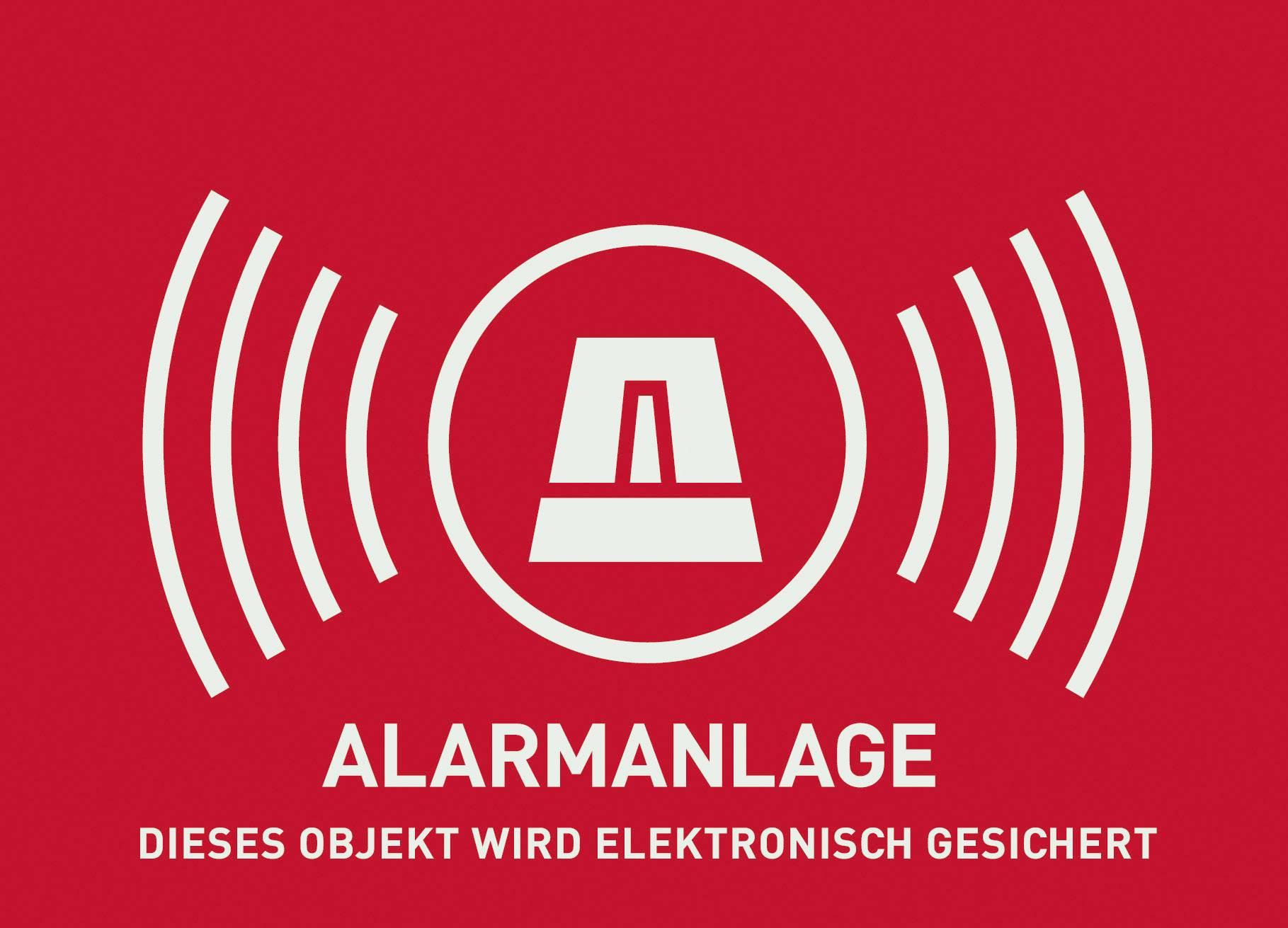 Nálepka Zabezpečeno alarmem ABUS AU1322, německy, 148 x 105 mm