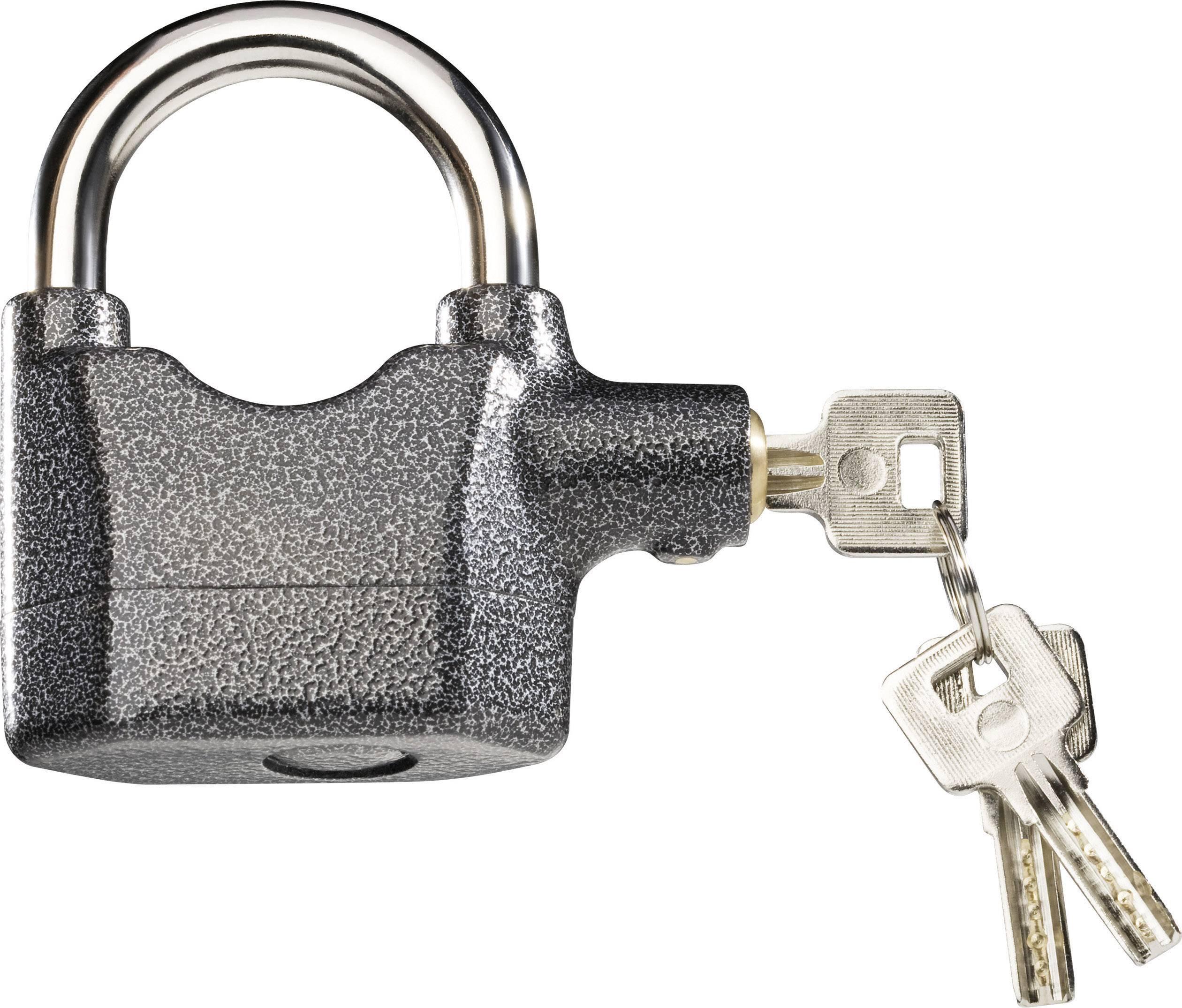 Se sirénou visací zámek na klíč 751710, 95 mm, antracitová