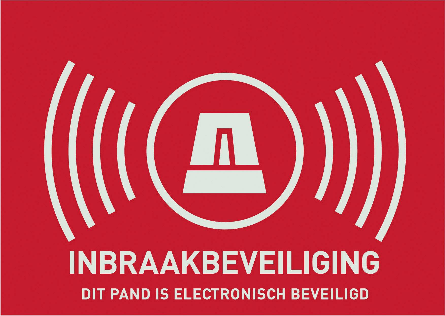 Nálepka Zabezpečeno alarmem ABUS AU1306, holandsky, 148 x 105 mm