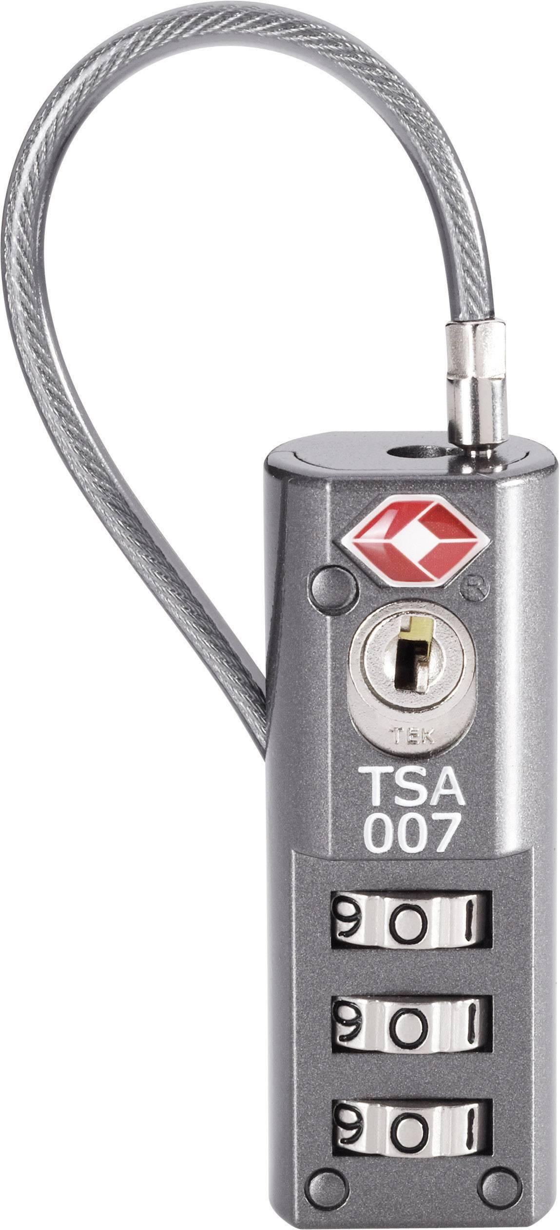 TSA kabelový zámek na heslo TSA LKOT-0936, 19 mm, šedá