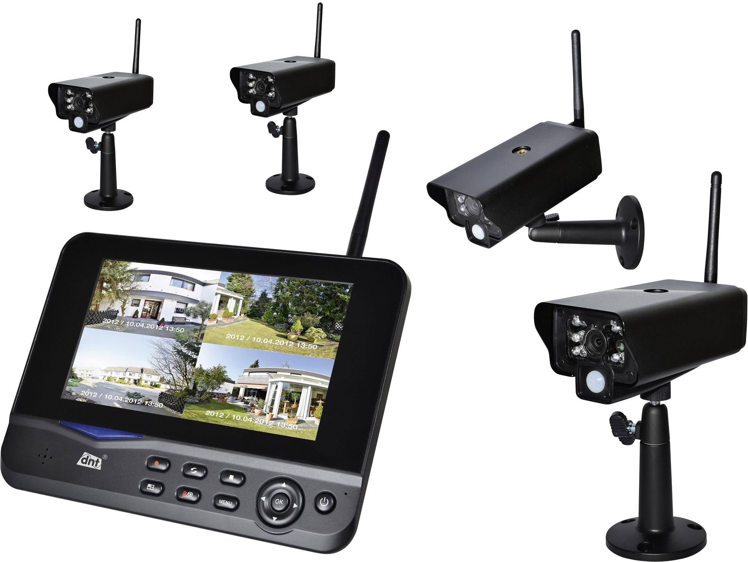 "Sada bezdrátových kamer s monitorem 7"" dnt Quattsecure Profiset, 52201, 2,4 GHz, 4 ks"