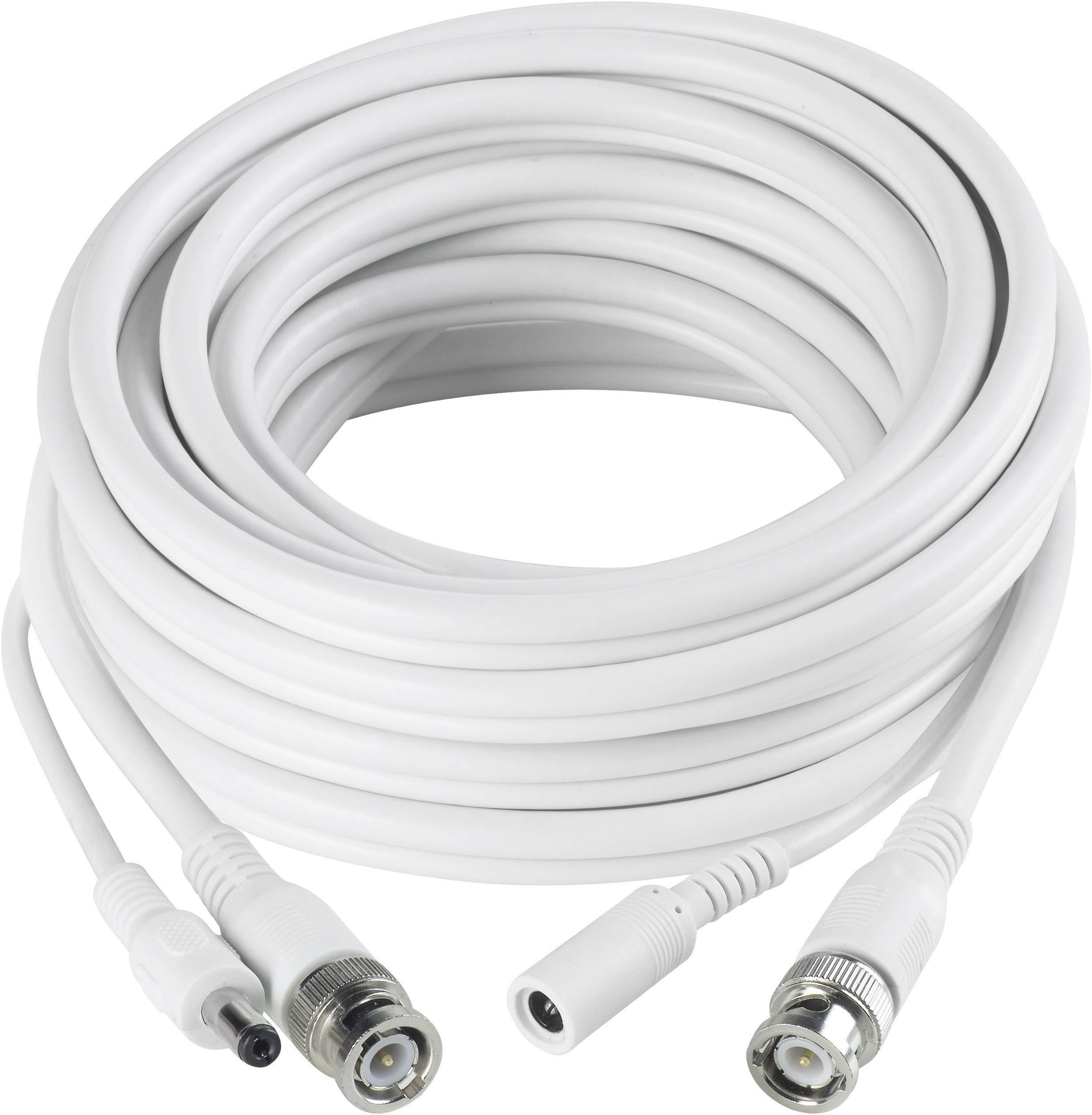 Video predlžovací kábel Sygonix, 1x BNC, 1x DC IN ⇔ 1x BNC, 1x DC OUT, 20 m, biely