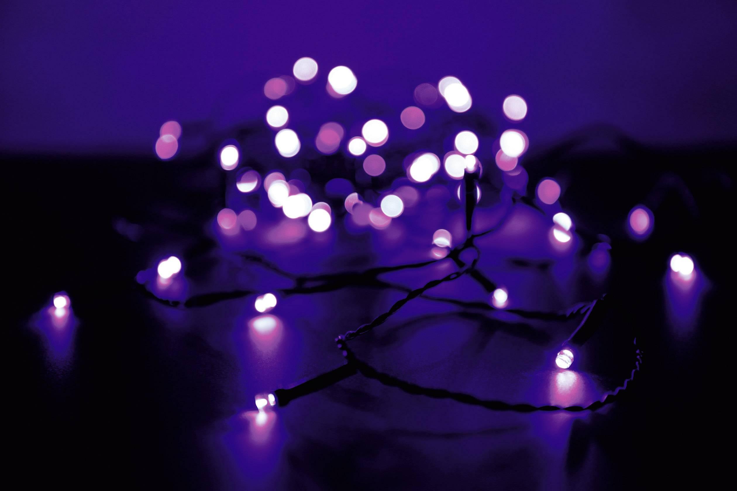 Vonkajšia micro vianočná reťaz Polarlite, 80 LED, fialová