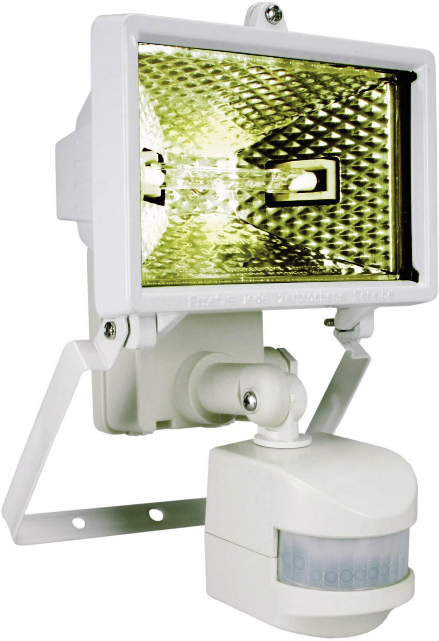 Halogénový reflektor s detektorom pohybu, R7s, 120 W, IP44, biely