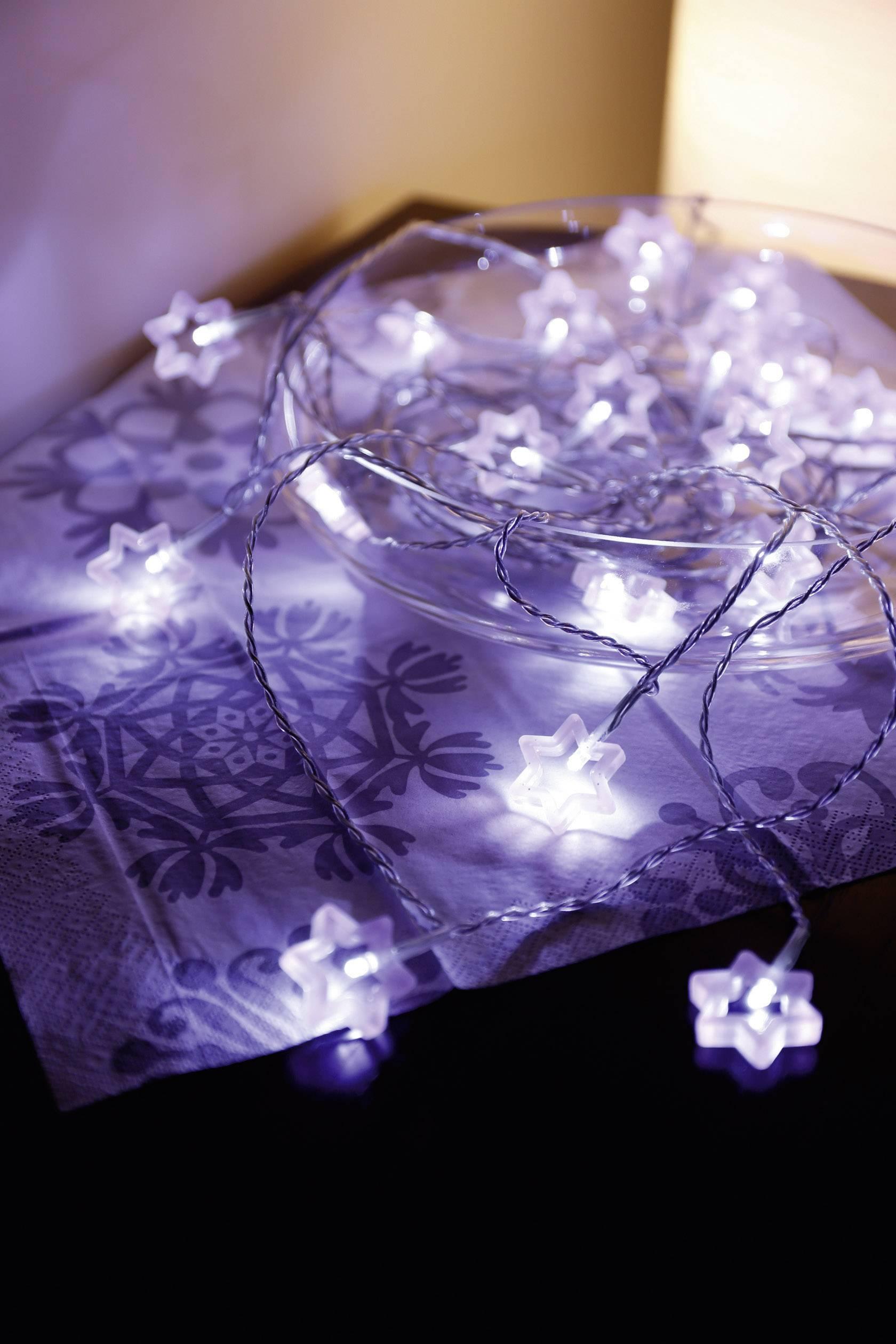 Vnútorná vianočná reťaz Polarlite, motív hviezdičky, 20 LED, studená biela