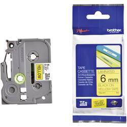Páska do štítkovača Brother TZe-611, 6 mm, 8 m, čierna, žltá